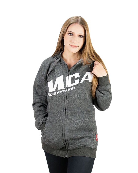 A girl wearing the MCA Suspension hoodie